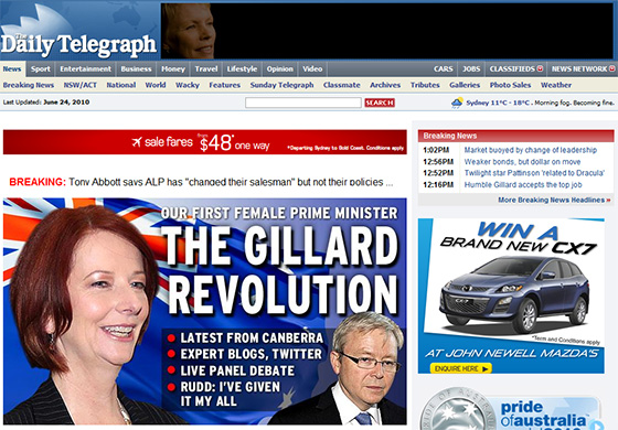 The Gillard Revolution – Win a Brand New CX7 (Daily telegraph)